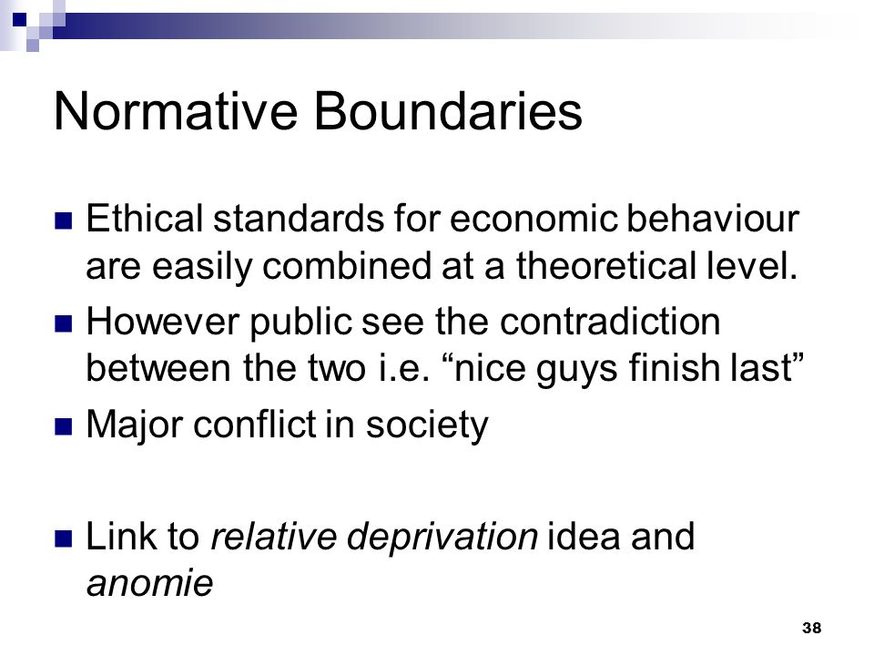 Normative Boundaries Ethical standards for economic behaviour are easily combined at a theoretical level.