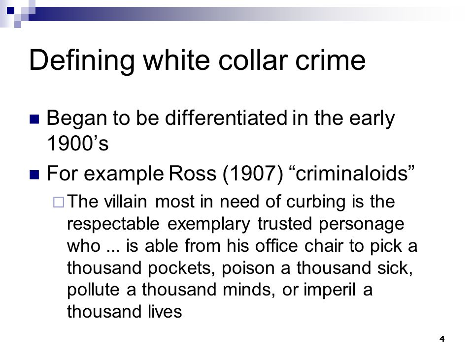Defining white collar crime