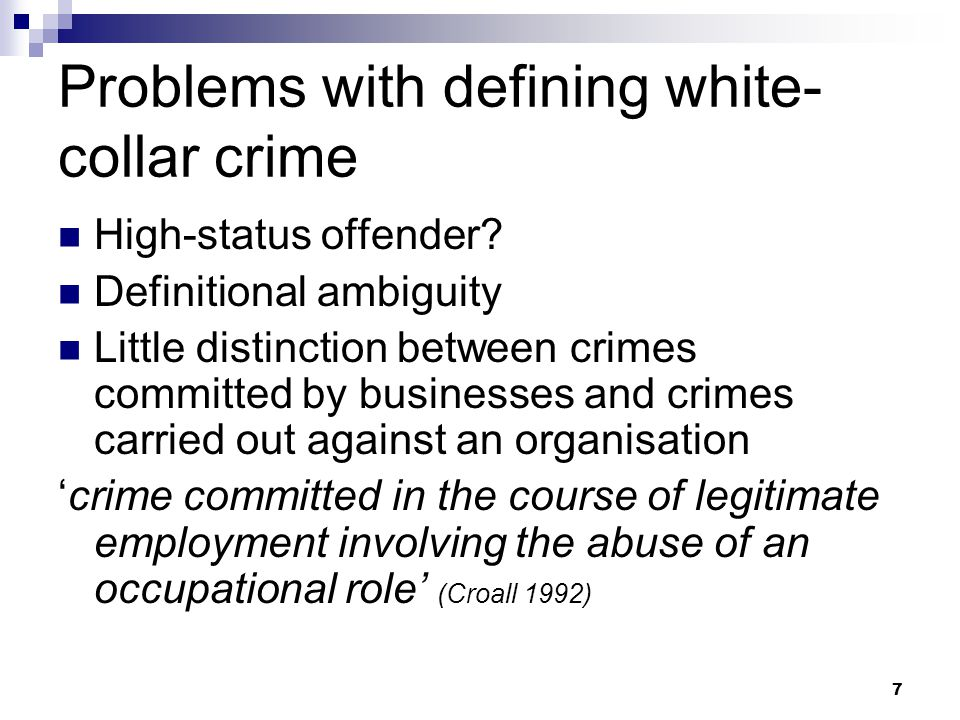 Problems with defining white-collar crime