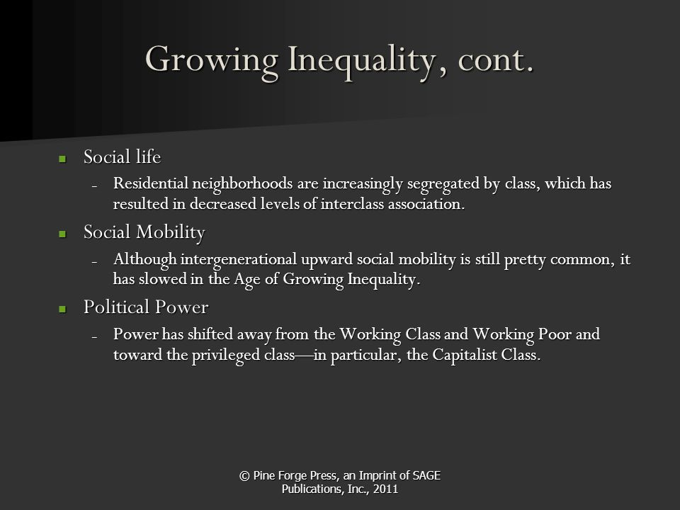 Growing Inequality, cont.