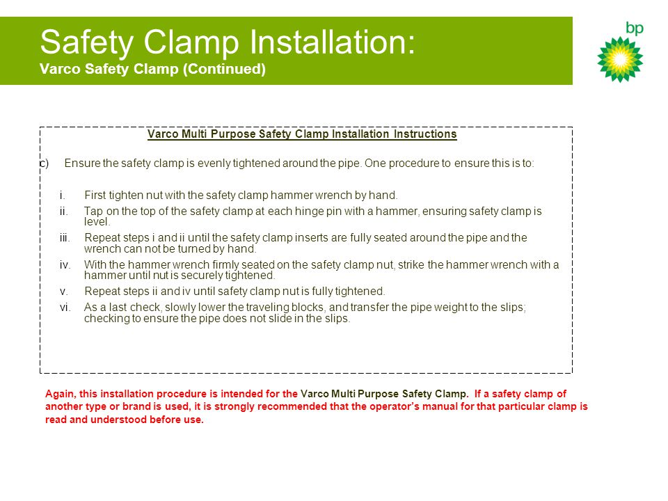 Safety Clamp Installation: Varco Safety Clamp (Continued)