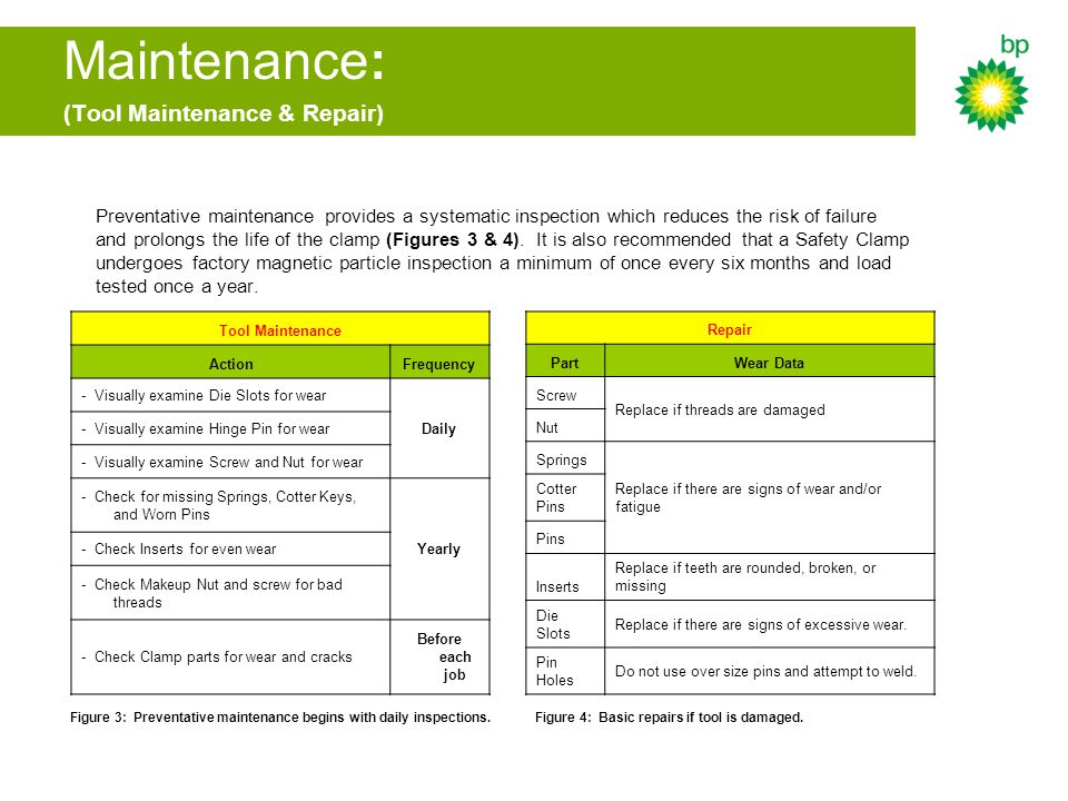 Maintenance: (Tool Maintenance & Repair)
