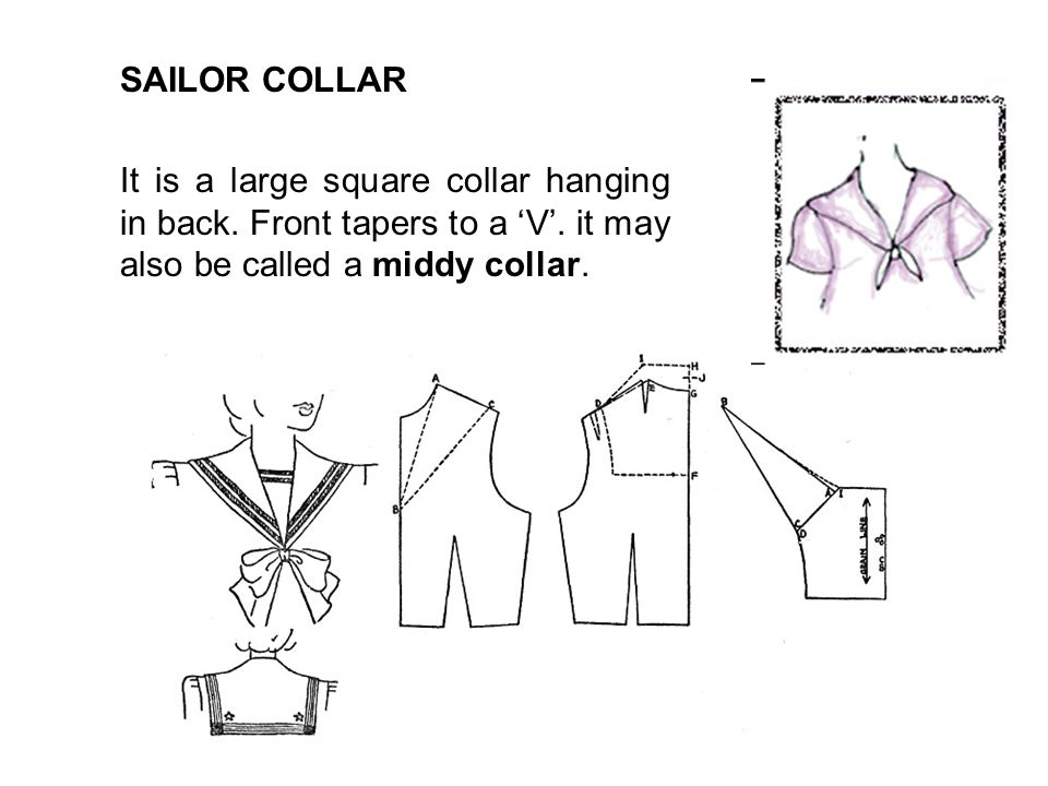 SAILOR COLLAR It is a large square collar hanging in back.