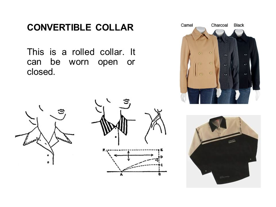 CONVERTIBLE COLLAR This is a rolled collar. It can be worn open or closed.