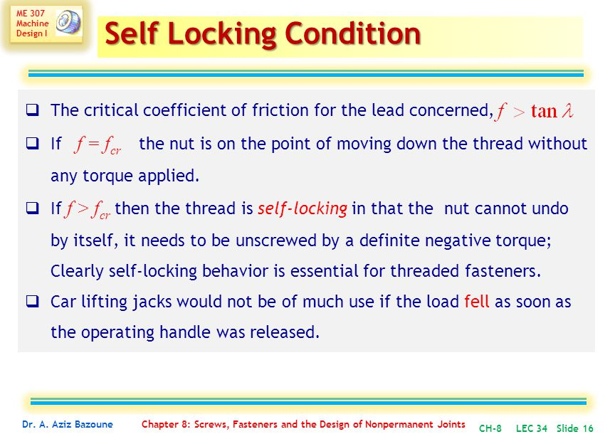 Self Locking Condition
