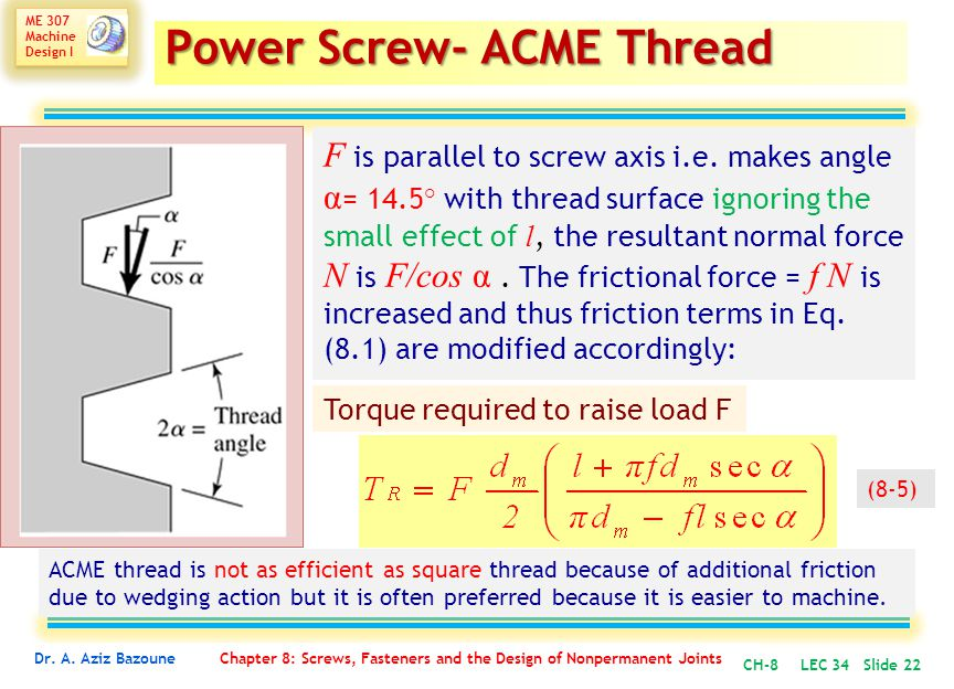 Power Screw- ACME Thread