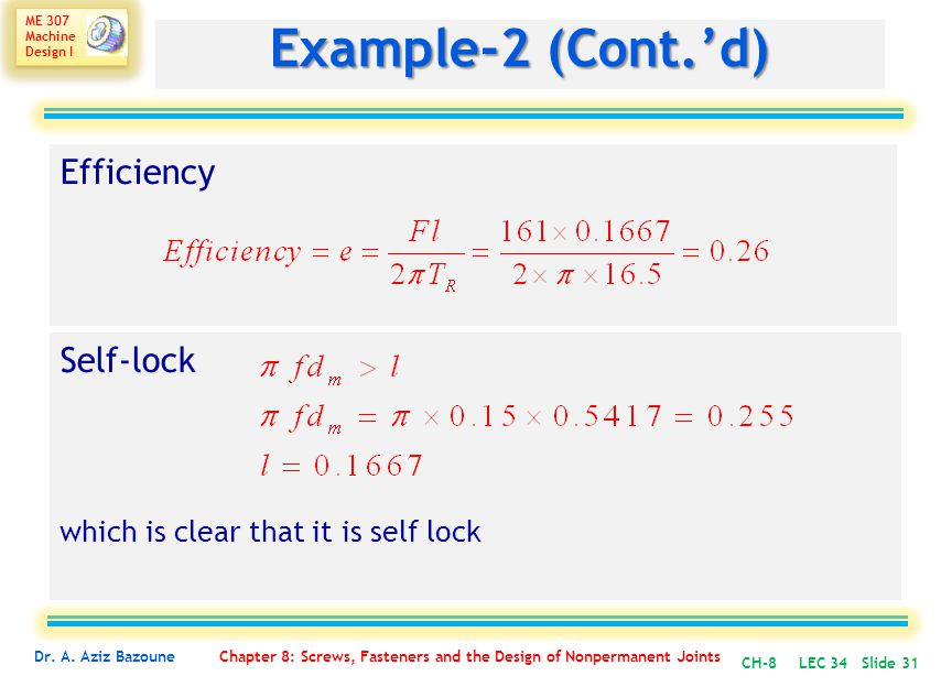 Example-2 (Cont.'d) Efficiency Self-lock