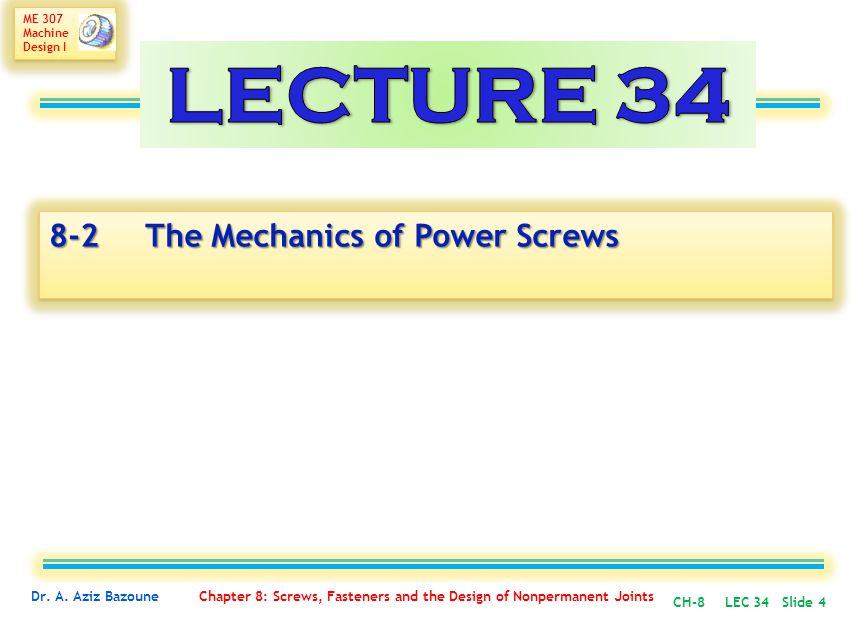 LECTURE 34 8-2 The Mechanics of Power Screws