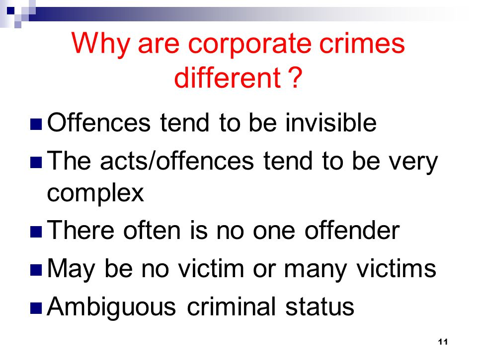 Why are corporate crimes different