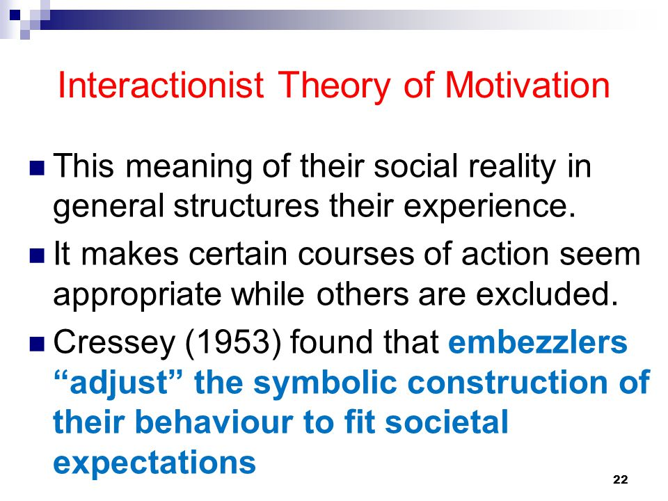 Interactionist Theory of Motivation