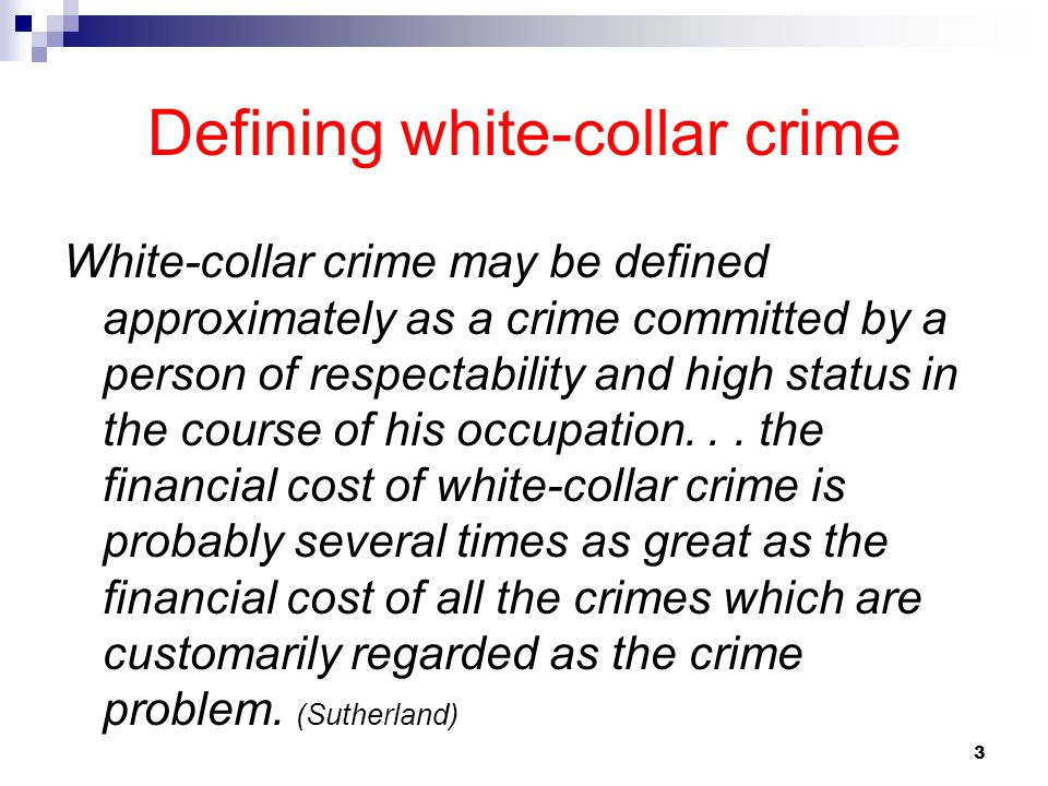 Defining white-collar crime
