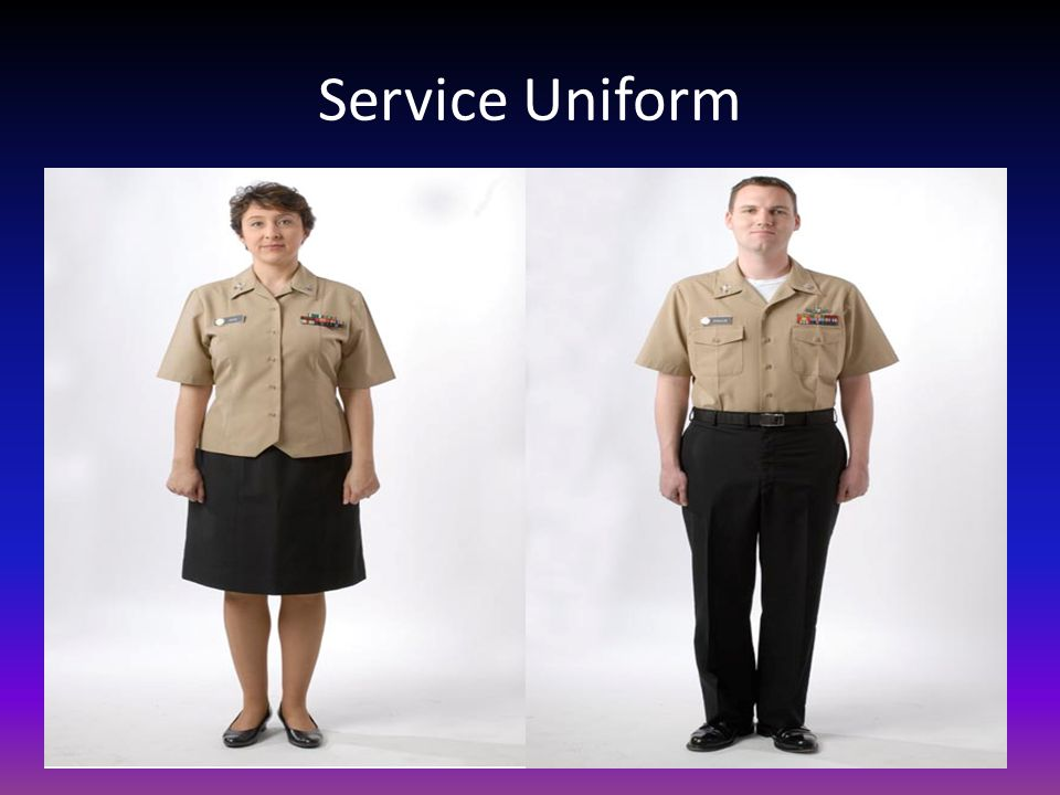 Service Uniform Worn year round for office work, watch-standing, liberty, or business ashore when prescribed as uniform of the day.