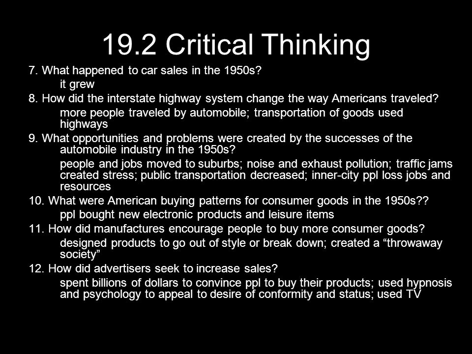 19.2 Critical Thinking 7. What happened to car sales in the 1950s