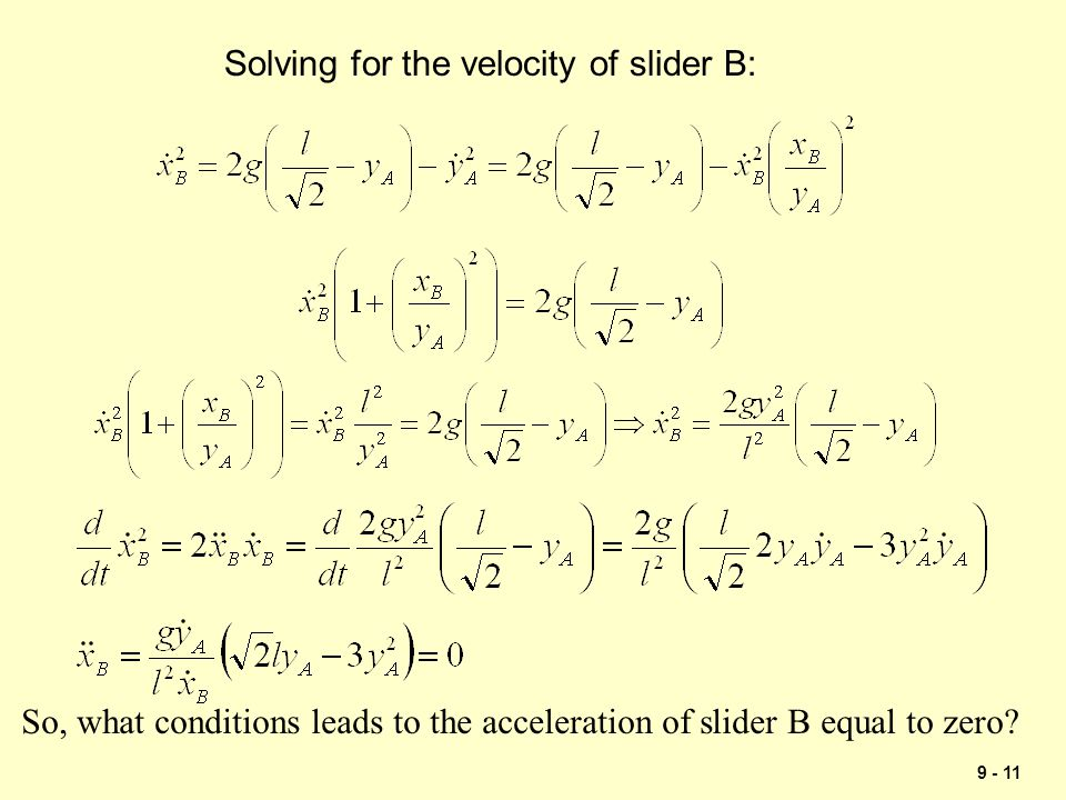 Solving for the velocity of slider B: