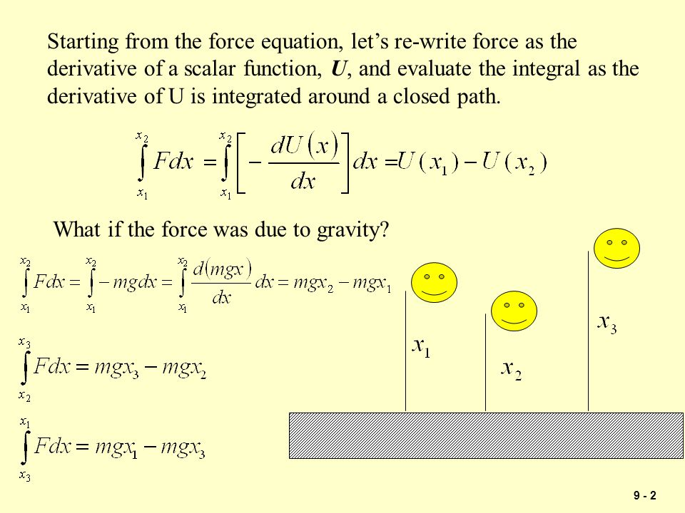 Starting from the force equation, let's re-write force as the derivative of a scalar function, U, and evaluate the integral as the derivative of U is integrated around a closed path.