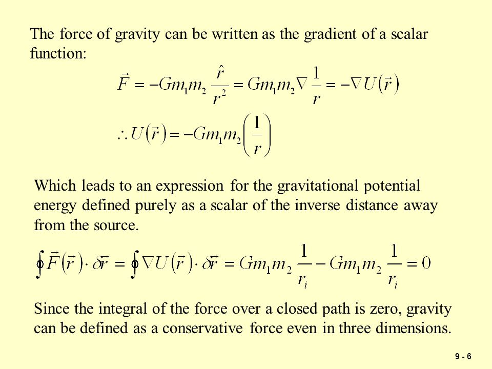 The force of gravity can be written as the gradient of a scalar function:
