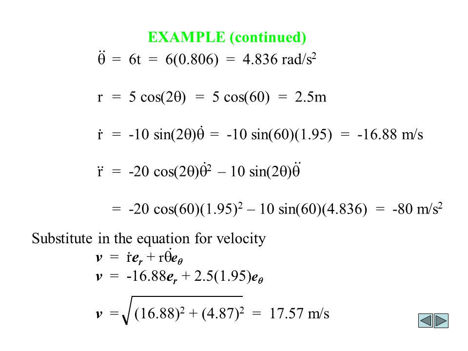 EXAMPLE (continued) q = 6t = 6(0.806) = 4.836 rad/s2. r = 5 cos(2q) = 5 cos(60) = 2.5m.