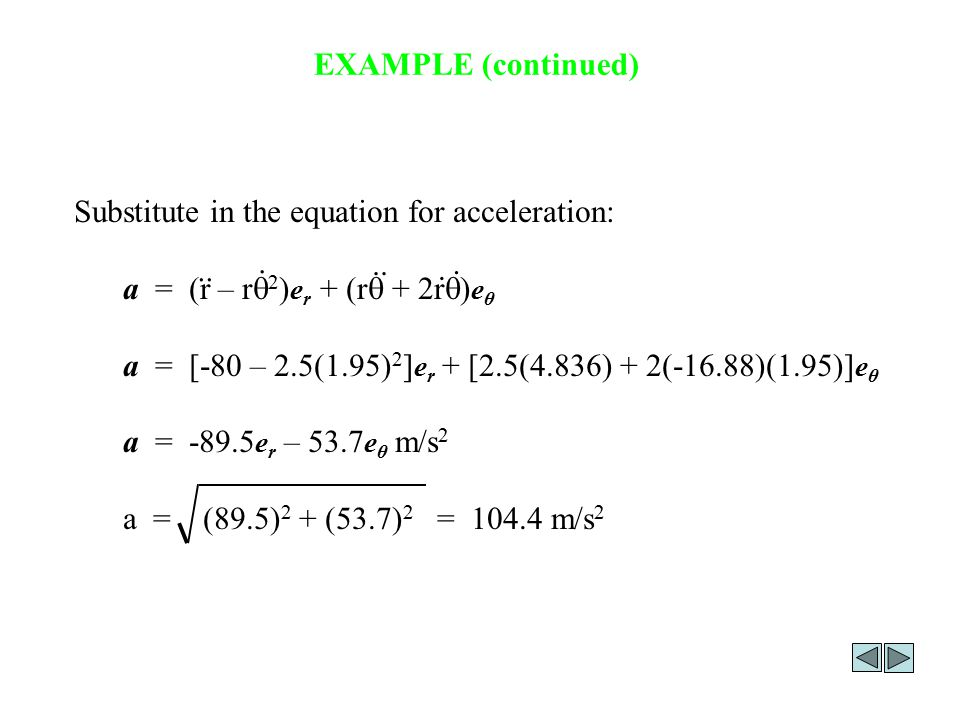 EXAMPLE (continued) Substitute in the equation for acceleration: a = (r – rq2)er + (rq + 2rq)eθ.