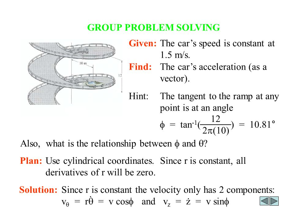 GROUP PROBLEM SOLVING Given: The car's speed is constant at 1.5 m/s. Find: The car's acceleration (as a vector).