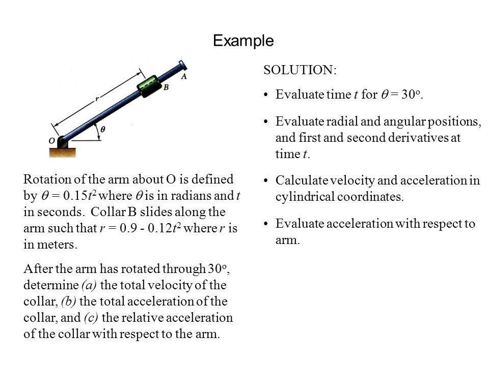 Example SOLUTION: Evaluate time t for q = 30o.