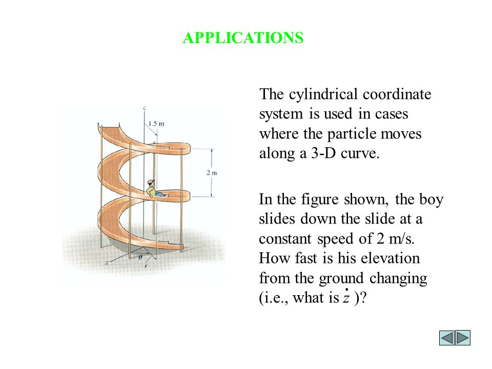 APPLICATIONS The cylindrical coordinate system is used in cases where the particle moves along a 3-D curve.