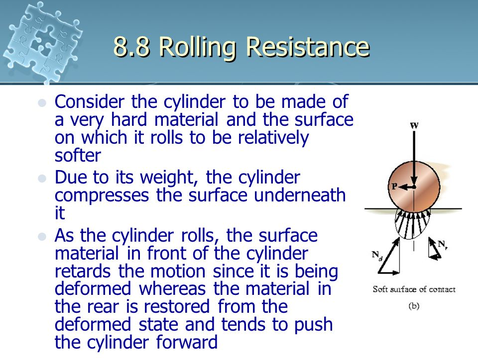 8.8 Rolling Resistance Consider the cylinder to be made of a very hard material and the surface on which it rolls to be relatively softer.