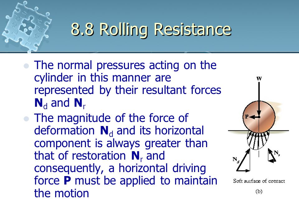 8.8 Rolling Resistance The normal pressures acting on the cylinder in this manner are represented by their resultant forces Nd and Nr.