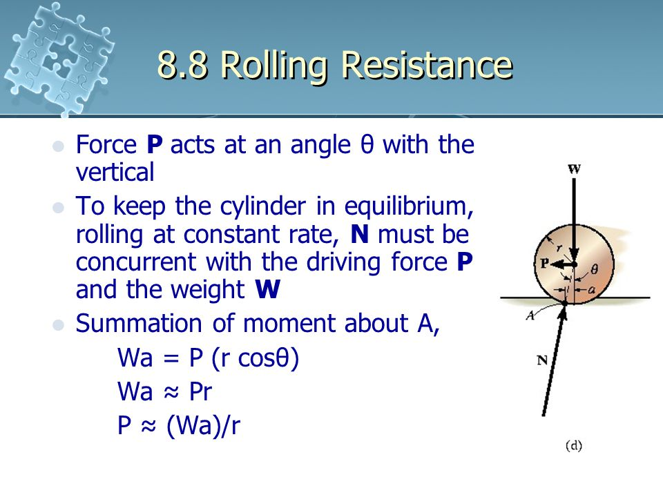8.8 Rolling Resistance Force P acts at an angle θ with the vertical