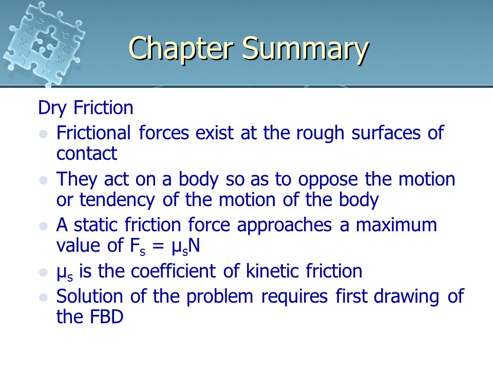 Chapter Summary Dry Friction