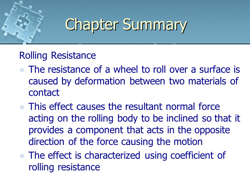 Chapter Summary Rolling Resistance