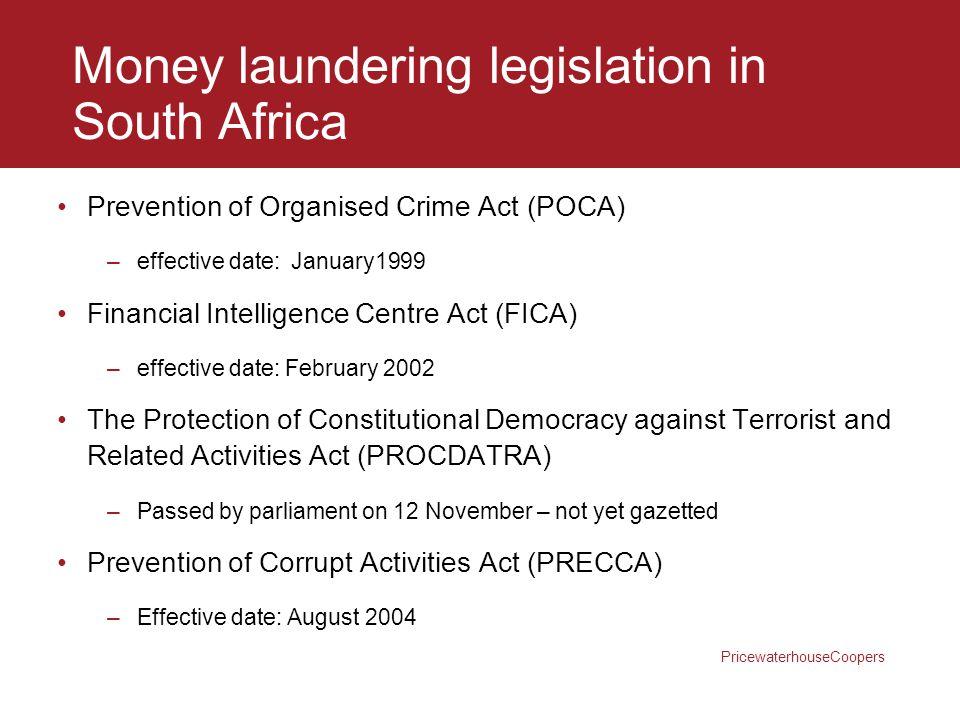 Money laundering legislation in South Africa