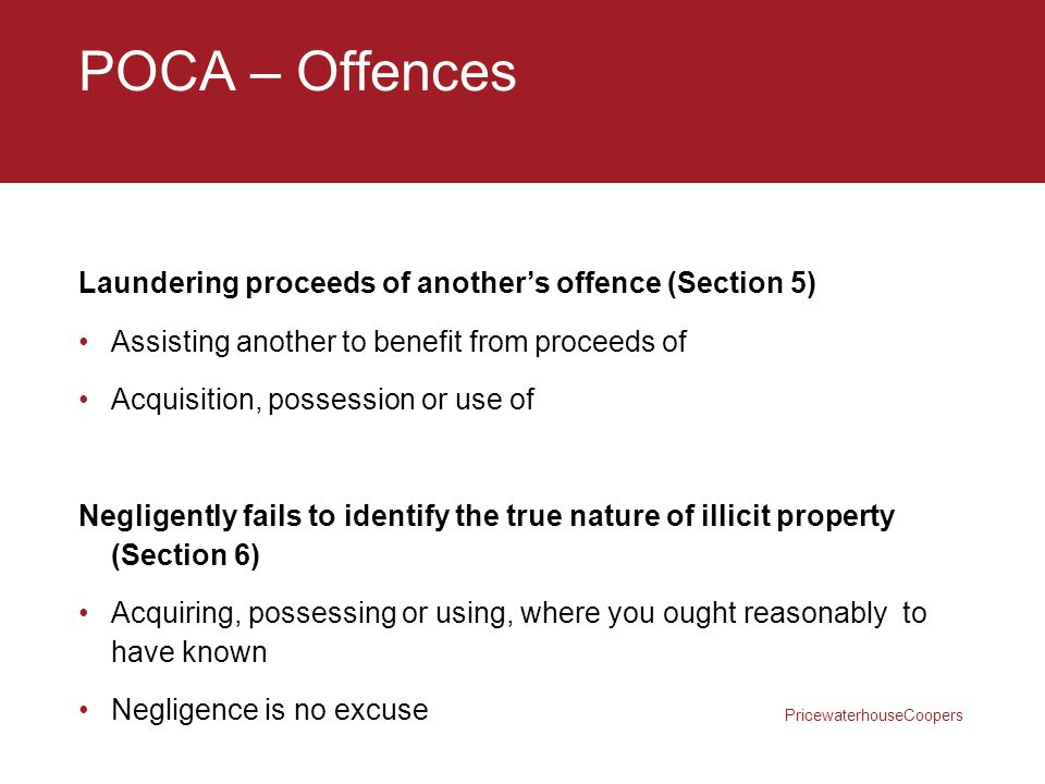 POCA – Offences Laundering proceeds of another's offence (Section 5)