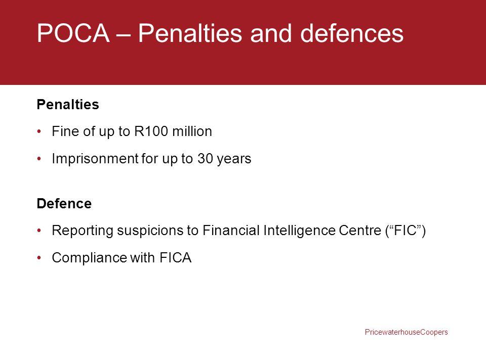 POCA – Penalties and defences