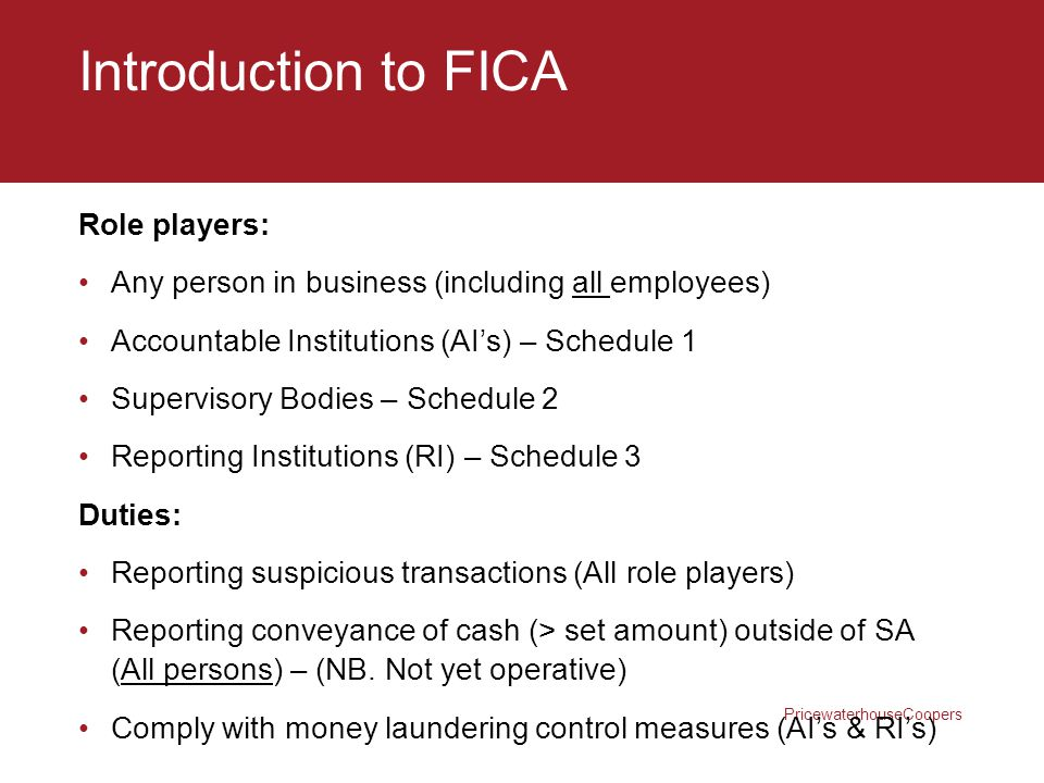 Introduction to FICA Role players: