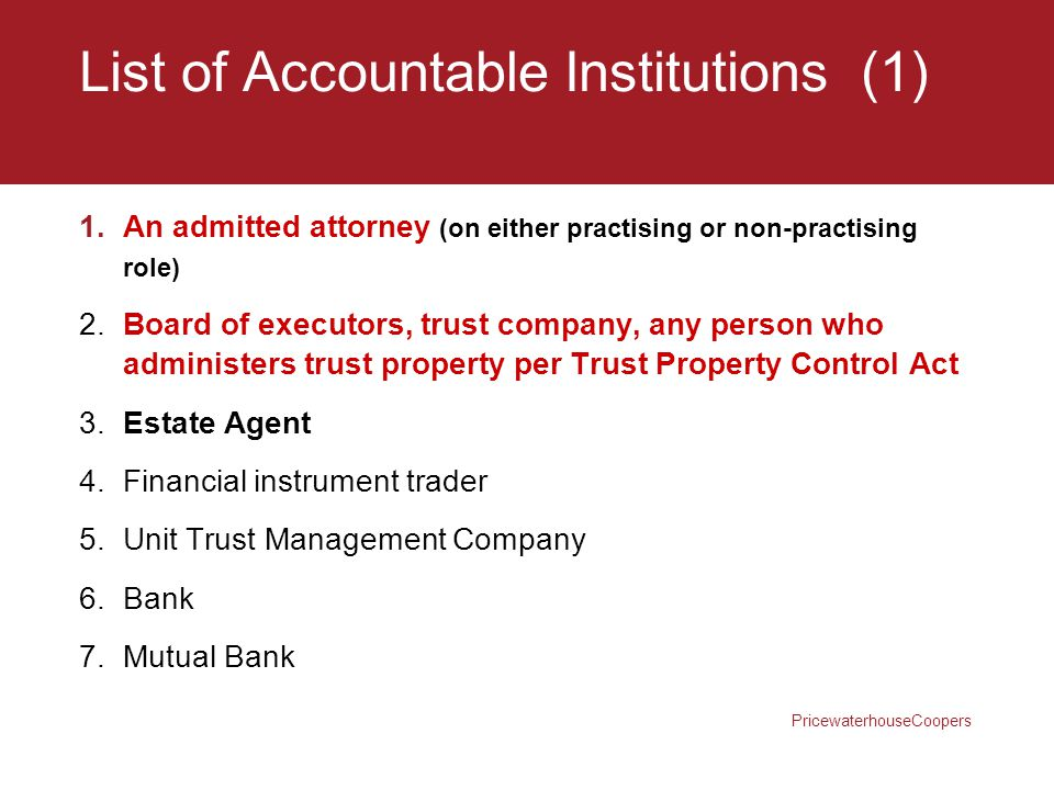 List of Accountable Institutions (1)