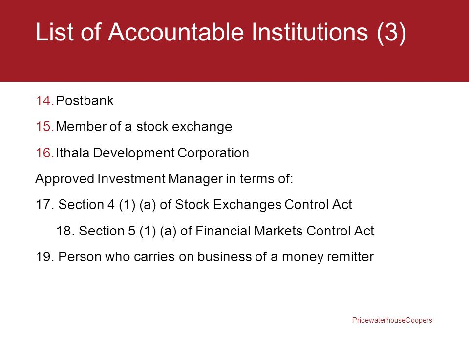 List of Accountable Institutions (3)
