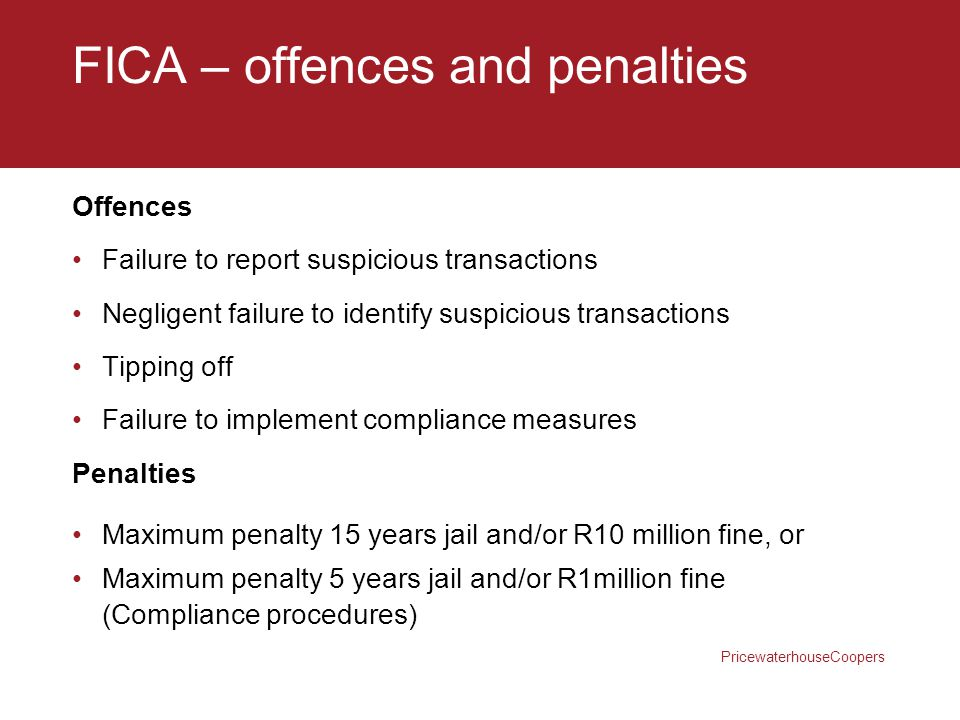 FICA – offences and penalties