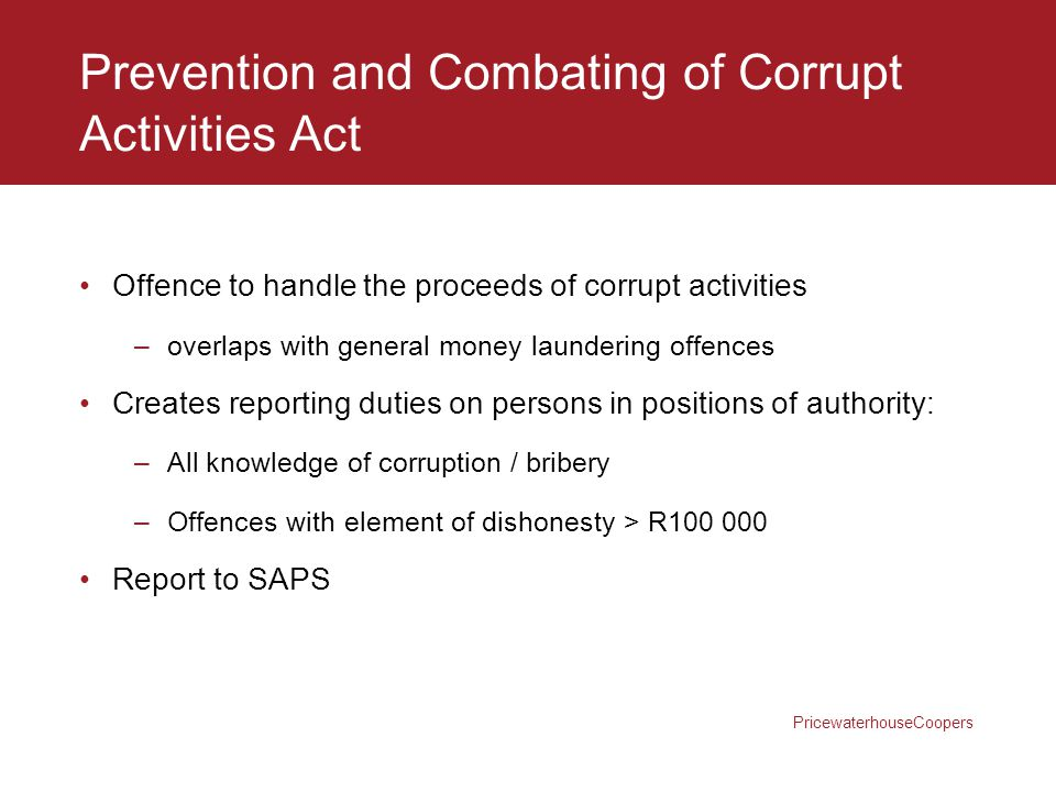 Prevention and Combating of Corrupt Activities Act