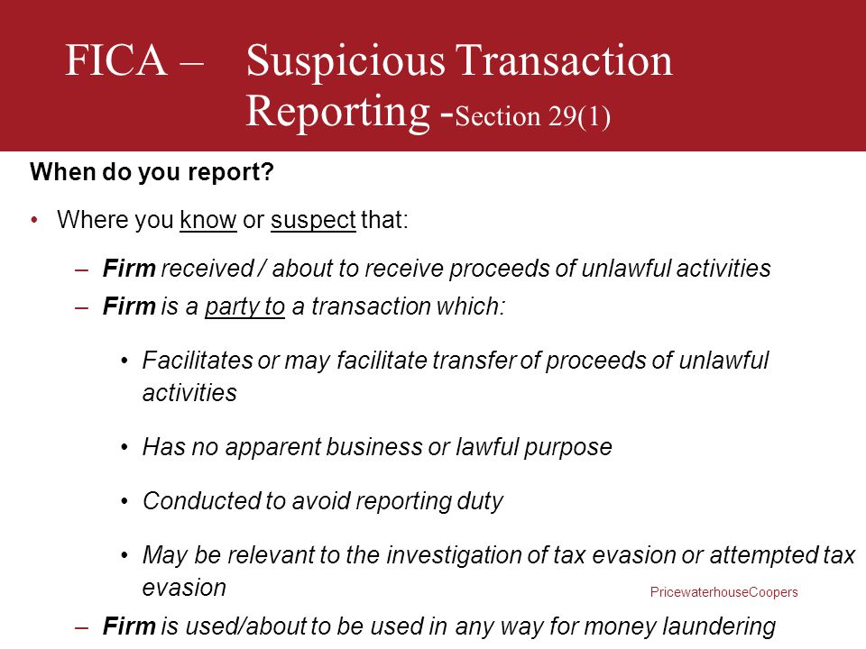 FICA – Suspicious Transaction Reporting -Section 29(1)