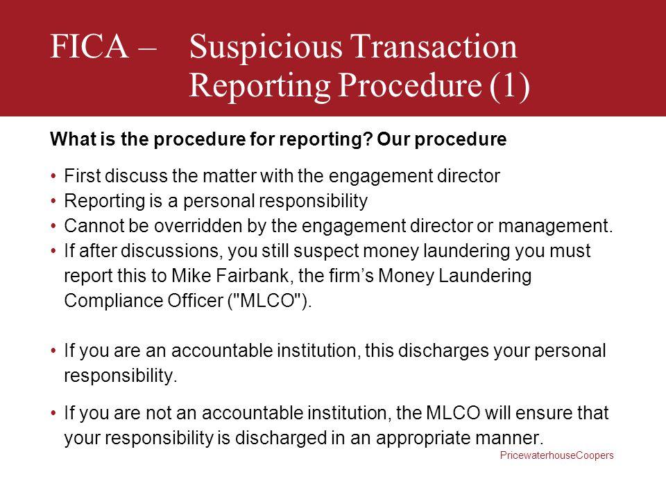 FICA – Suspicious Transaction Reporting Procedure (1)