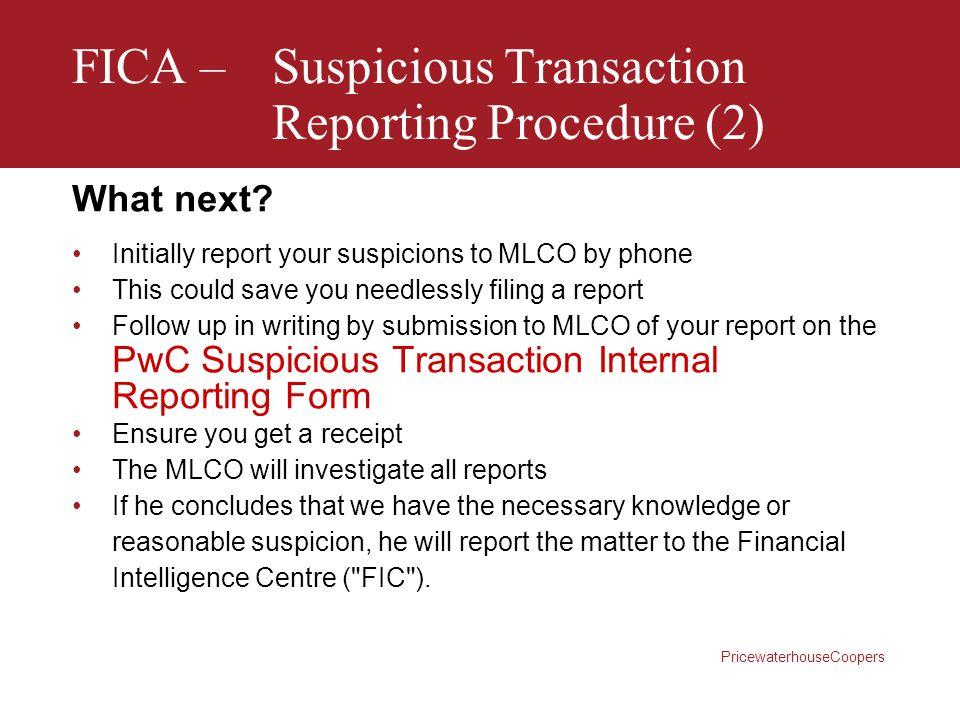 FICA – Suspicious Transaction Reporting Procedure (2)