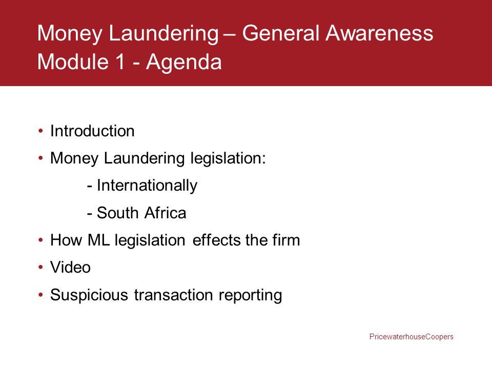Money Laundering – General Awareness Module 1 - Agenda