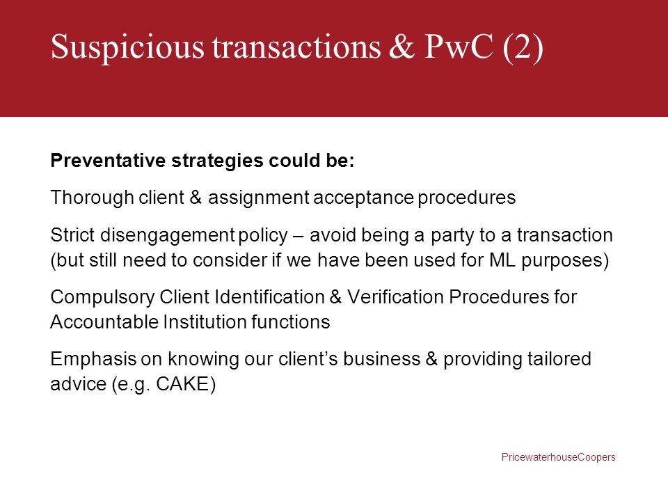 Suspicious transactions & PwC (2)
