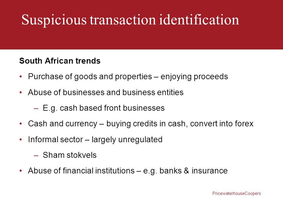 Suspicious transaction identification