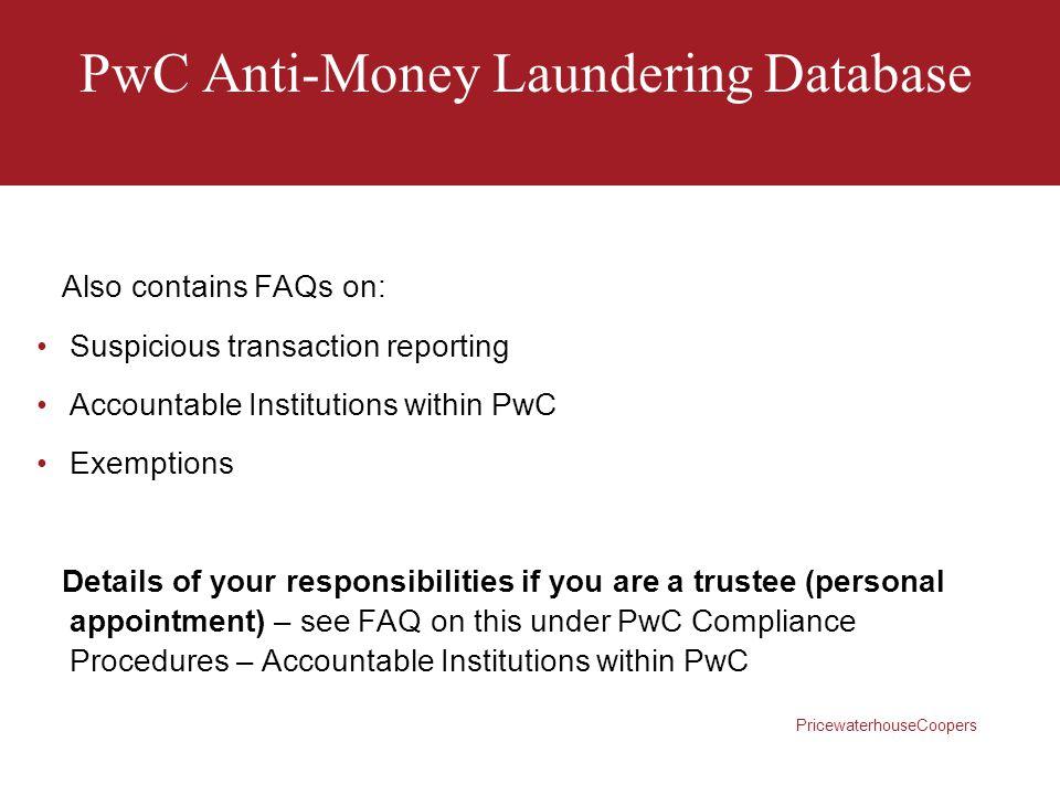 PwC Anti-Money Laundering Database