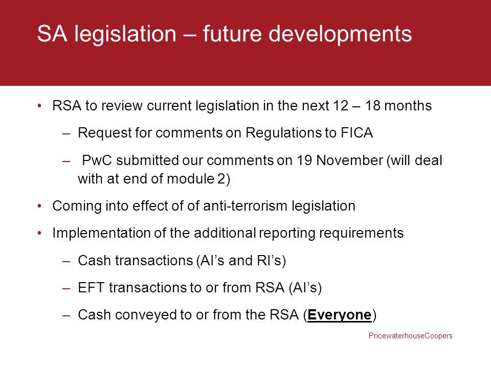 SA legislation – future developments