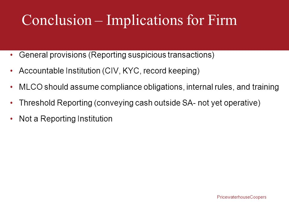 Conclusion – Implications for Firm