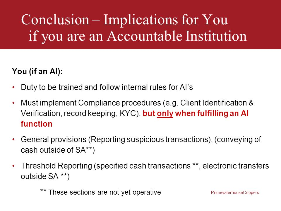 Conclusion – Implications for You if you are an Accountable Institution