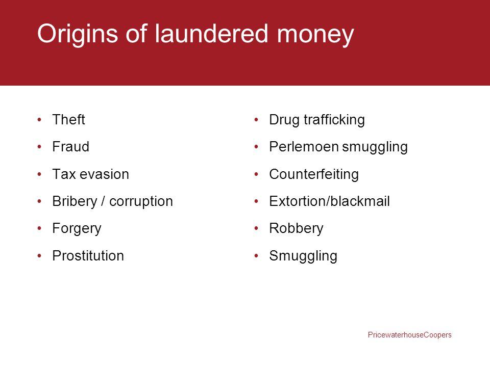 Origins of laundered money