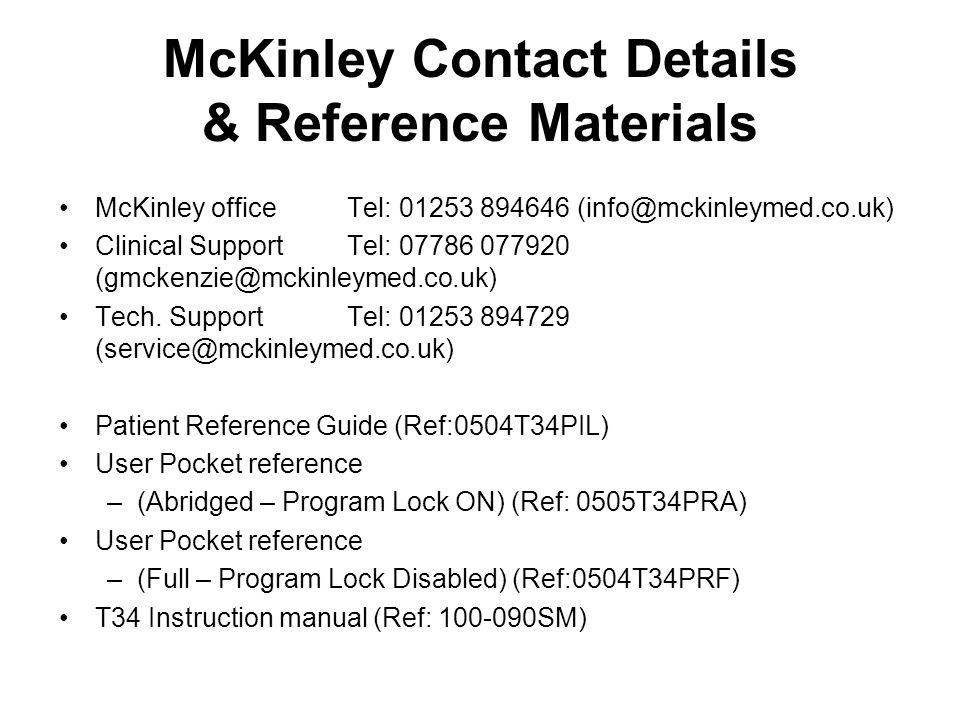 McKinley Contact Details & Reference Materials